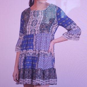Umgee Blue Mix Dress Boho Babydoll New